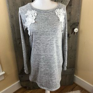 Twenty Seconds Gray Tunic With Lace & Pockets S